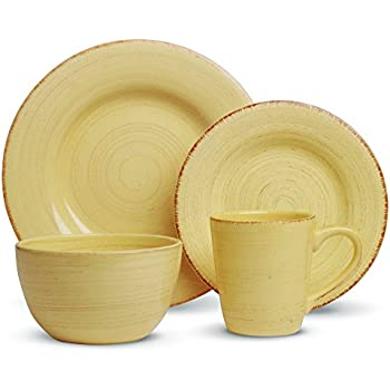 Amazon.com | Sango 16 Piece Contempo Dinnerware Set, Cream ...