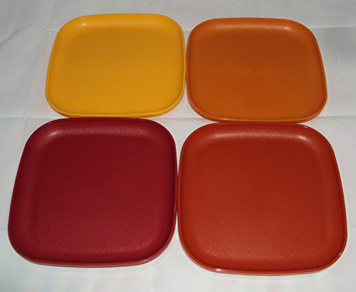 Vintage Tupperware 8 Inch Square Luncheon Plates in Harvest Colors