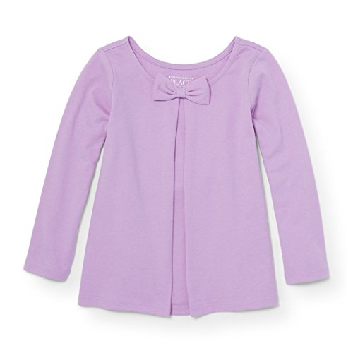 The Children's Place Baby Little Girls' Solid Bow Knit Top, Violet Twist 94319, 3T
