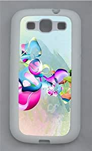 Abstract Art Pattern TPU Silicone Rubber Case Cover for Samsung Galaxy S3 SIII I9300 White