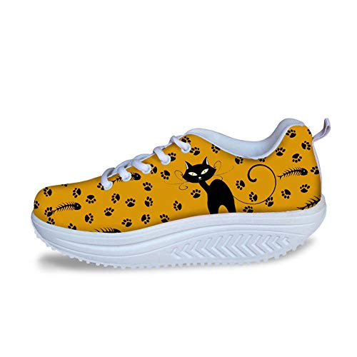 Bigcardesigns Cat Designs Wedge Sneakers Women Ornage Trendy Walking Fitness Shoes 39