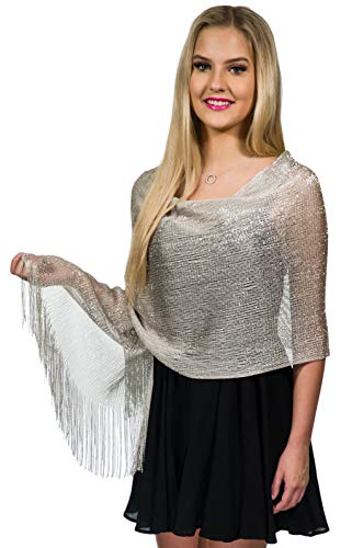 Shawls and Wraps for Evening Dresses, Wedding Shawl Wrap Fringes Scarf for Women Silver Petal Rose