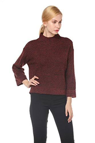 Merino Turtleneck Sweater Dress (Knitbest Women's Knitwear Turtleneck Long Sleeve Red Sweater Pullover Top)