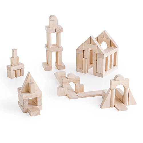 Piece Wooden Unit Blocks - Guidecraft Classroom Unit Blocks - 170 Pcs. - Wooden Early Development Building Block Toys for Children, Kids Learning Game
