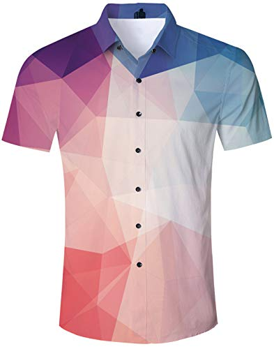 (Geometric Shirt Men Beach Theme Hawaiian Island Shirt Colorful Navy Blue Turquoise Teal Geometric Triangle Prints Short Sleeve Shirt Tropical Shirts Vintage Hawaiian Clothes Button Down Shirt)