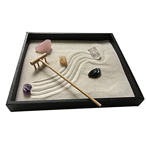 zen healing crystal garden with white sand and bamboo rake - Zen Rock Garden