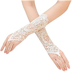 Lace Long Bridal Wedding Gloves with Rhinestones Appliques White Gloves for Women Prom Evening