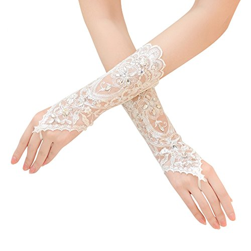 Fingerless Lace Bridal Gloves with Crystal Beads Womens Wedding Accessories (Ivory-1104)