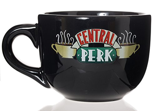 Friends Central Perk Latte Coffee Mug 16oz - Choose White or Black (Black 16oz) -