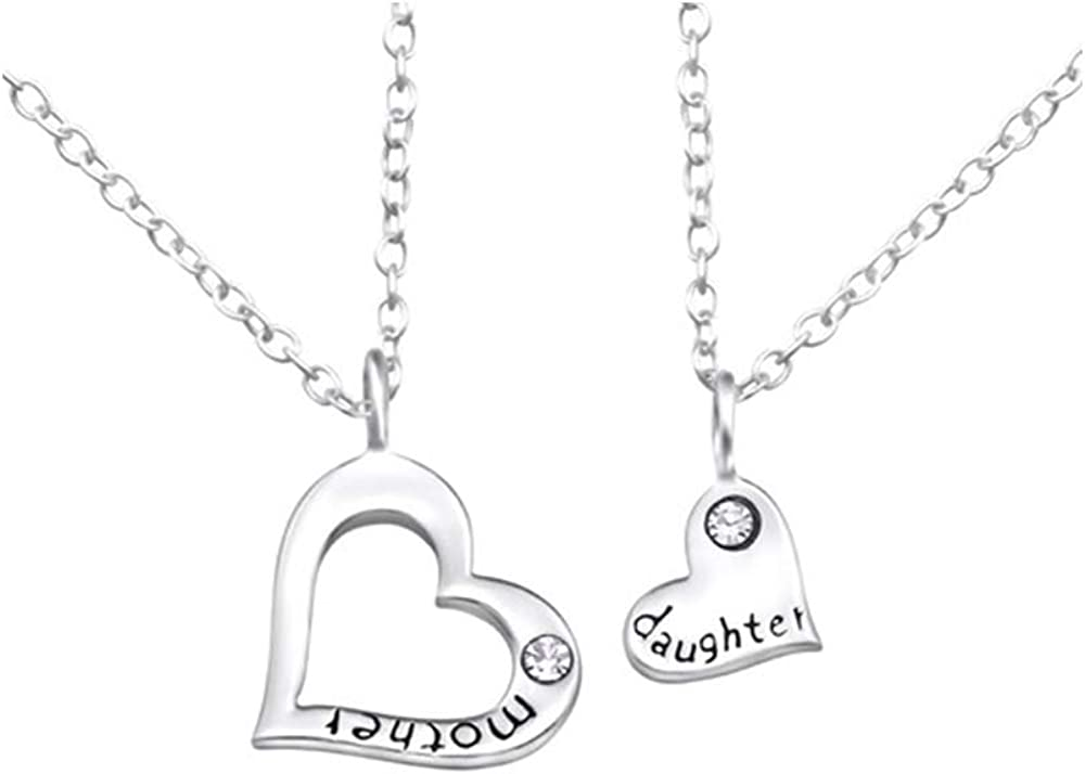 2 Caratera Mother and Daughter Jeweled Necklaces 925 Sterling Silver Nb of Crystal Stones