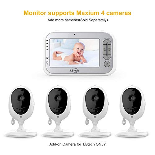 """41 Q5ORSr3L - LBtech Video Baby Monitor With Two Cameras And 4.3"""" LCD,Auto Night Vision,Two-Way Talkback,Temperature Detection,Power Saving/Vox,Zoom In,Support Multi Camera"""