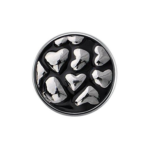 Eligo Bijoux plaqué argent 18mm Black Hearts ornement bouton-pression pour Eligo 18mm Bracelets Button