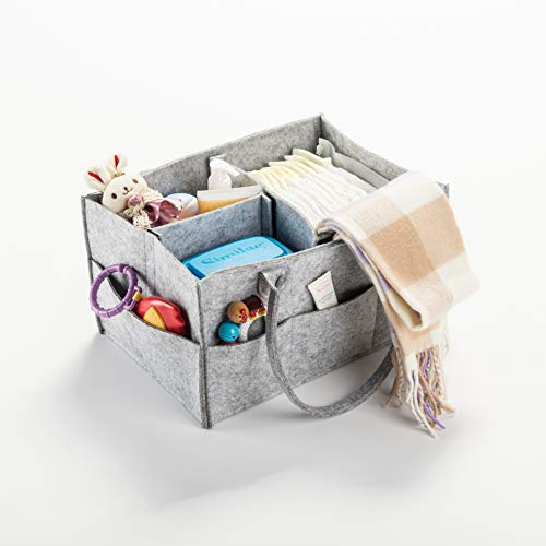 CO-Z Multifunctional Large Baby Diaper Caddy with Zipper Cover, Nursery Storage Bin and Car Organizer for Diapers Baby Wipes -