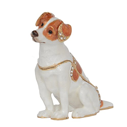 Jiaheyou Jack Russell Terrier Dogs Jeweled Trinket Jewelry Box Miniature Dogs Ring Holder