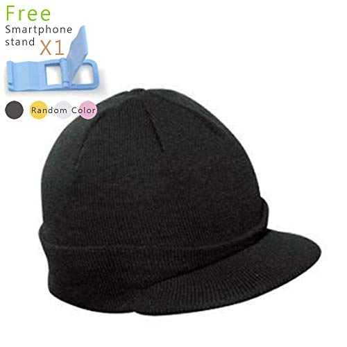Vintage Year Plain Short Billed Knit Radar with Cuff Beanie (Black)