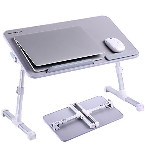 Portable Laptop Table by Superjare, Foldable and Durable Design Stand Desk, Adjustable Angle and Height for Bed Couch Floor, Notebook Holder, Breakfast Tray - Silver Gray