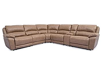 San Mateo Toffee 6 Pc. Power Sectional   Chaise   Wedge   Recliner   Console