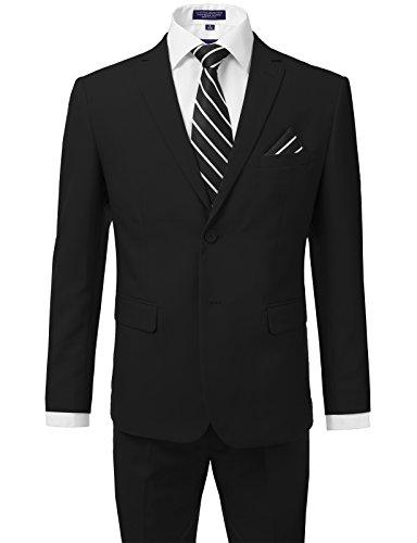 iDarbi Men's Slim Fit 2-Piece Two Button Suits Set BLACK 36S