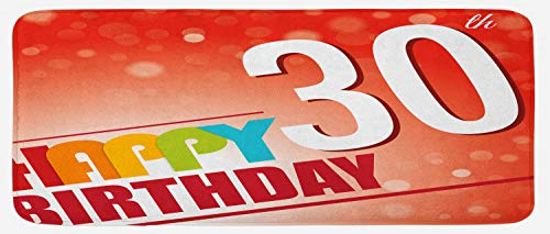 (Ambesonne 30th Birthday Kitchen Mat, Invitation to The Birthday Party in Colorful Retro Style Poster Image Print, Plush Decorative Kithcen Mat with Non Slip Backing, 47 W X 19 L)