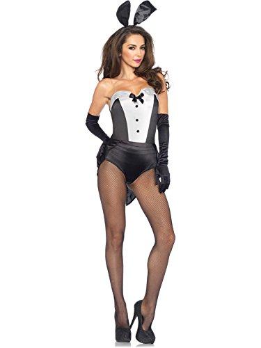 [Leg Avenue Women's 3 Piece Classic Bunny Costume, Black/White, Small] (Classic Playboy Bunny Costume Black)
