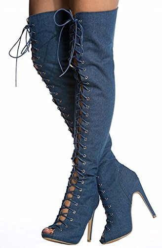 Emiki Women Two-piece Peep Toe Denim Boots Solid Lace up Stilettos Zipper Ankle Boots Gladiator Thigh High Boots Customized Blue(Boots) PD9emHeIO