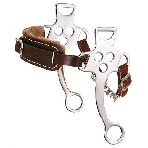 Kelly Silver Star Fleece Lined Hackamore - Assorted Chrome Plated - Horse (Hackamore Bit)