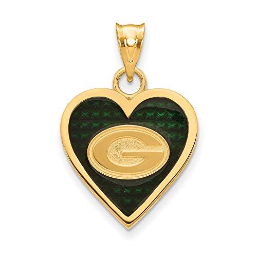 (Kira Riley Gold Plated Green Bay Packers Enameled Heart Pendant )