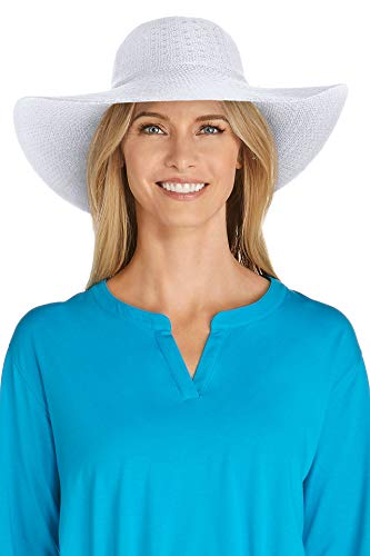 Coolibar UPF 50+ Women's Packable Wide Brim Hat - Sun Protective (One Size- White) ()
