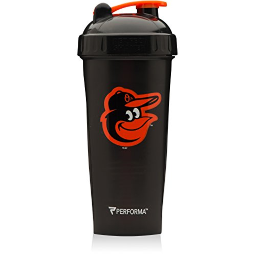 Performa Perfect Shaker - MLB Collection, Best Leak Free Bottle With Actionrod Mixing Technology For Your Sports & Fitness Needs! Dishwasher and Shatter Proof (Oriole Collection)