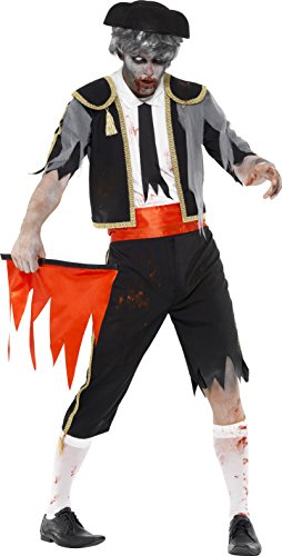 Smiffy's Men's Zombie Matador Costume, Jacket, pants, Cummerbund, Hat and Red Flag, Zombie Alley, Halloween, Size L, (Cummerbund Costume)