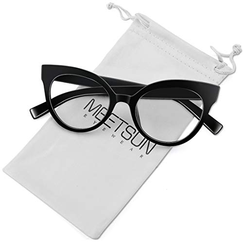 MEETSUN Womens Cat Eye Glasses Frame Fashion Designer Non Prescription Eyeglasses Clear Lens for ladies Black Optical ()