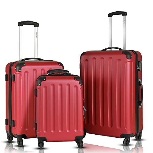 Goplus 3Pcs Luggage Set, Hardside Travel Rolling Suitcase, 20/24/28 Rolling Luggage Upright, Hardshell Spinner Luggage Set with Telescoping Handle, Coded Lock Travel Trolley Case (Wine) ()