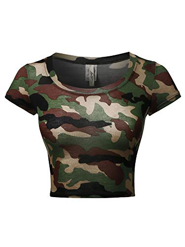 A2Y Basic Scoop Neck Cap Sleeve Fitted Crop Rayon Top Tee Shirt Camo Green S