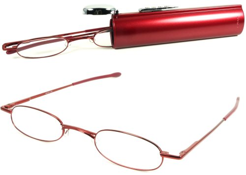 I-Mag Oval Metal Reading Glasses with Easy Push Button Hard Tube Case (+1.50, Red)