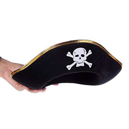 Fun Central AU003 1ct Child Size Felt Pirate Party Hat, Pirate Accessories, Pirate Costume for Kids, Pirate Toys, Hat Costume - for Birthday, Costume Party, Role Play, Gifts, Party Favor (Pirate Felt Black Hat)