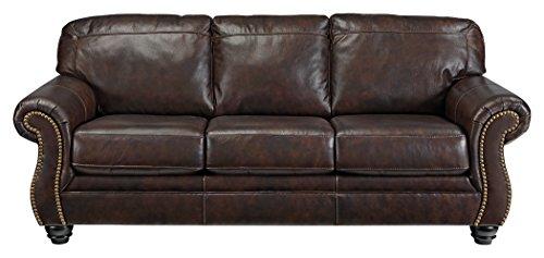 Genuine Leather Living Room (Signature Design by Ashley 8220238 Bristan Sofa, Walnut)