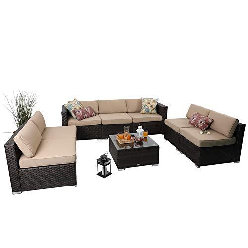 PHI VILLA Outdoor Patio Sofa- Patio Wicker Furniture Set (8-Piece, Beige)
