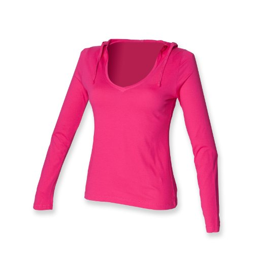 Skinni Fit Frauen mit Kapuze T Fuchsia XL