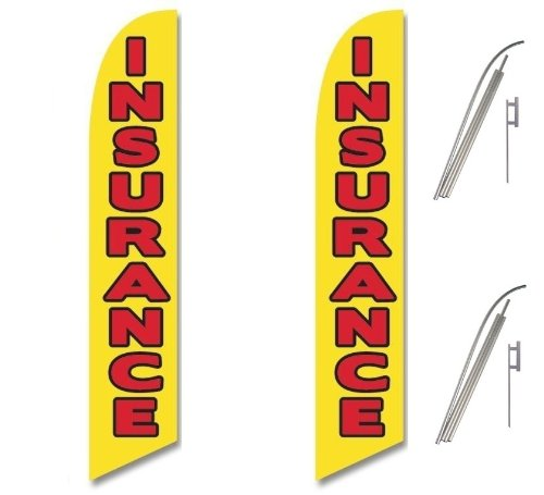 Two Full Sleeve Swooper Flags w// Poles /& Spikes INSURANCE Yellow with Big Red Black Text