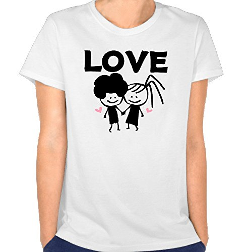 Just Tinge Women's Fun LOVE Text Lovely Couple 2016 Short Sleeves T Shirts Crew Neck L White