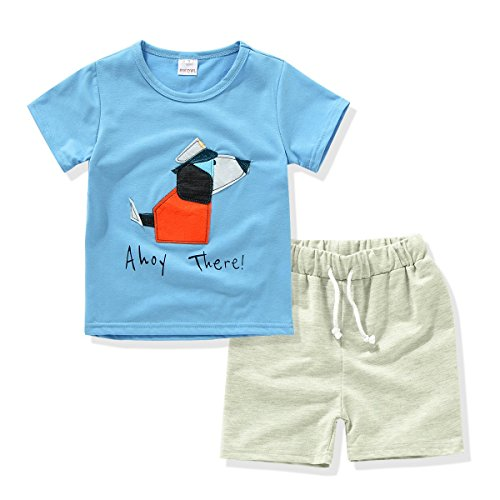 AJia Kids 2 Piece Short Sleeve Shirt and Shorts for 1 to 5 Years Olds Little Boy (3t, Lake Blue) by AJia