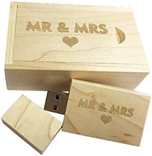 dodjivi Arce Madera USB Flash Drive con láser Grabado MR & Mrs ...