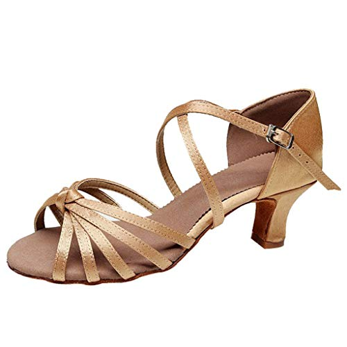 Women's Elegant Waltz Dance Shoes Ladies Summer Prom Ballroom Latin Salsa Square Cool Feel Soft Leather Dance Shoes 2019 Hot (Khaki, US:7.5)