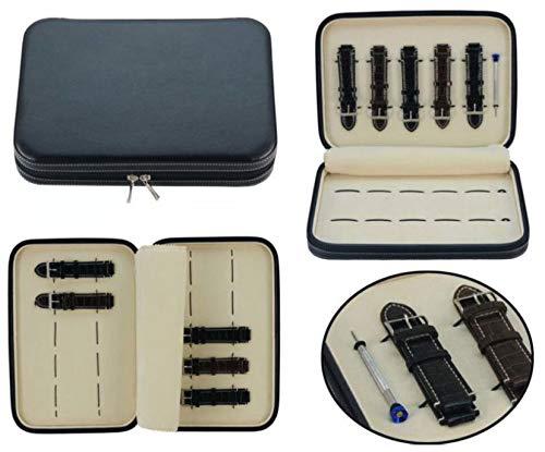 nd Strap CASE Black Leather Zippered Travel Storage Padded ()