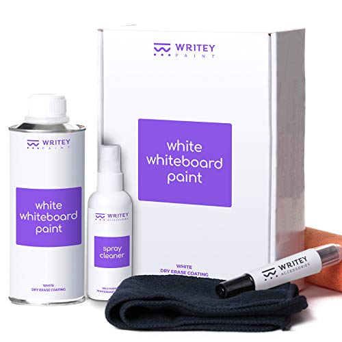 Dry Erase, Whiteboard Paint, White Coat, 50 Square feet, for Walls by Writey Board