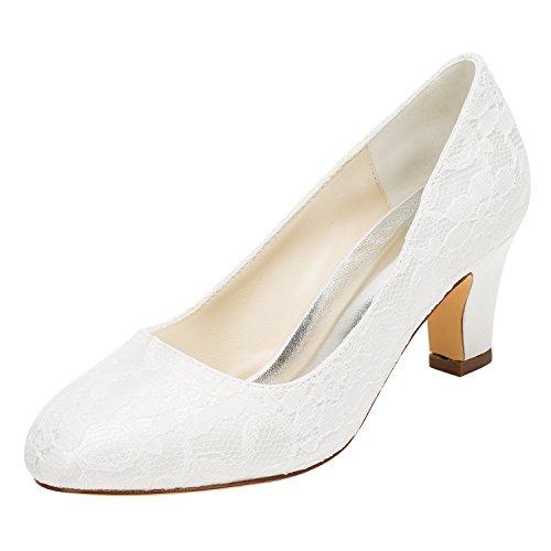- Emily Bridal Wedding Shoes Women's Silk Like Satin Stiletto Heel Closed Toe Pumps (EU41/9 B(M) US, Ivory)