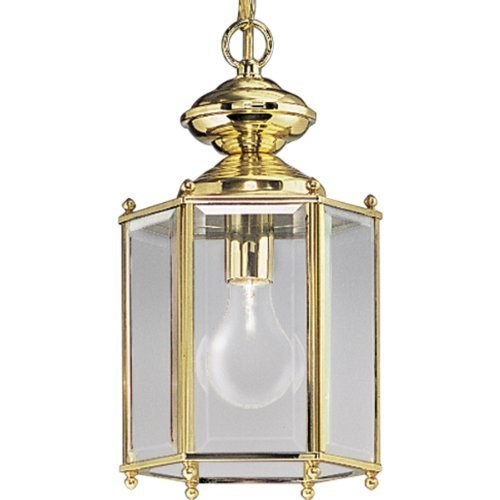 Progress Lighting P5834-10 Hexagonal Lantern with Beveled Glass Chain and Ceiling Mounts Both Included, Polished Brass by Progress Lighting