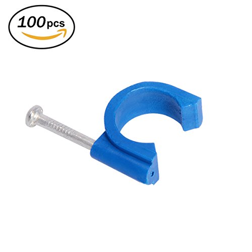 Firecore 1/2 Inch Clamp J-Hook with Nail for Pex Tubing Pipe Support, Blue(100 pack) by Firecore
