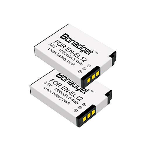 Bonadget 1500mAh EN-EL12 Replacement Battery Compatible with Nikon Coolpix W300 A900 S70 S6300 S8200 AW130 S31 S9900 S800C S710 S1200pj Nikon Key Mission 360(2 Pack)