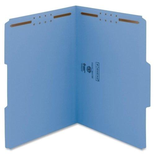 Wholesale CASE of 5 - Smead Colored Top-Tab Fastener File Folders-Folder, 2 Fasteners, 1/3 AST Tab Cut, Letter, 50/BX, Blue ()